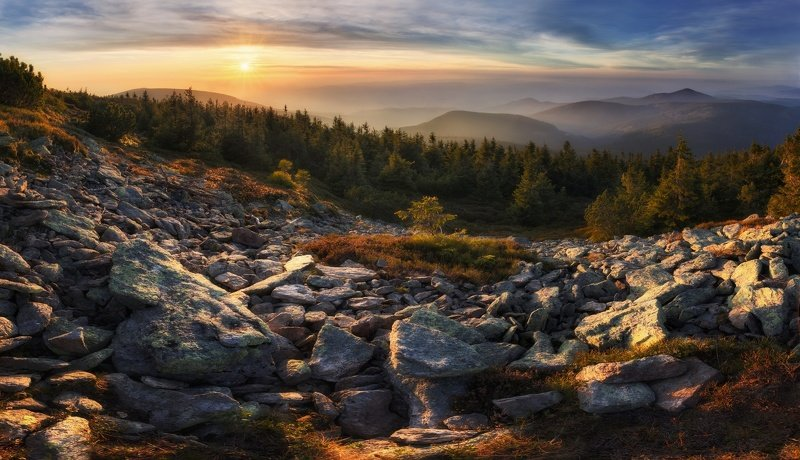 landscape, tree, sunset, panorama View from Kralický Sněžníkphoto preview