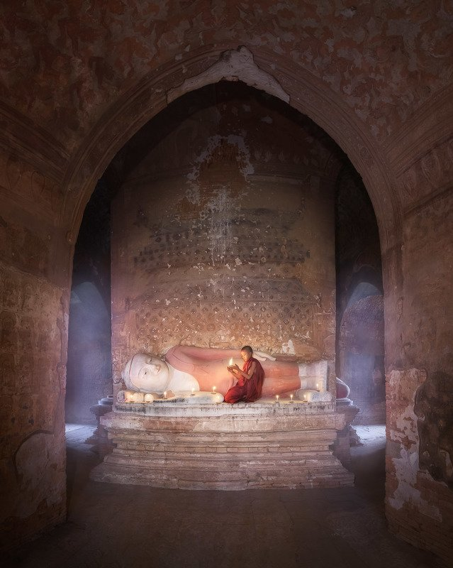 ancient, archeological, architecture, asia, asian, bagan, belief, buddha, buddhism, buddhist, burma, burmese, candle, children, culture, destination, faith, history, inside, interior, kid, landmark, light, little, man, meditation, monastery, monk, myanmar In the Templephoto preview