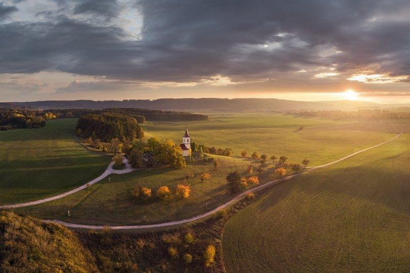 aerial, mavic, church, dronephoto, drone, autumn, czechia, Autumn lights..photo preview