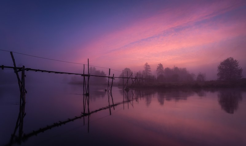 bridge, river, morning, blue, water, fog Sunrise on the Riverphoto preview
