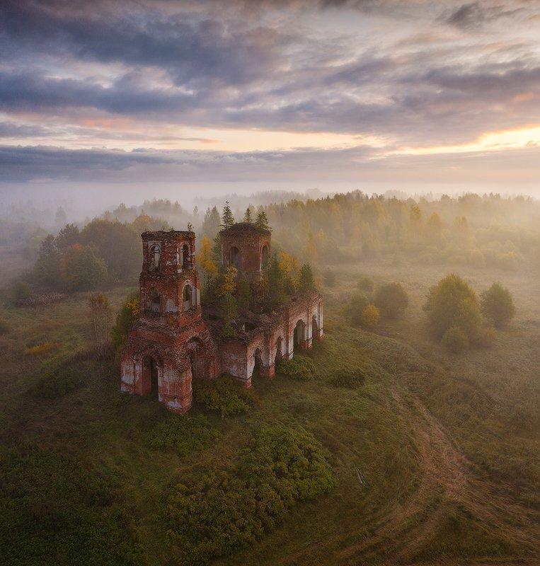 осень, туман, рассвет, валдай, новгородская область ***photo preview