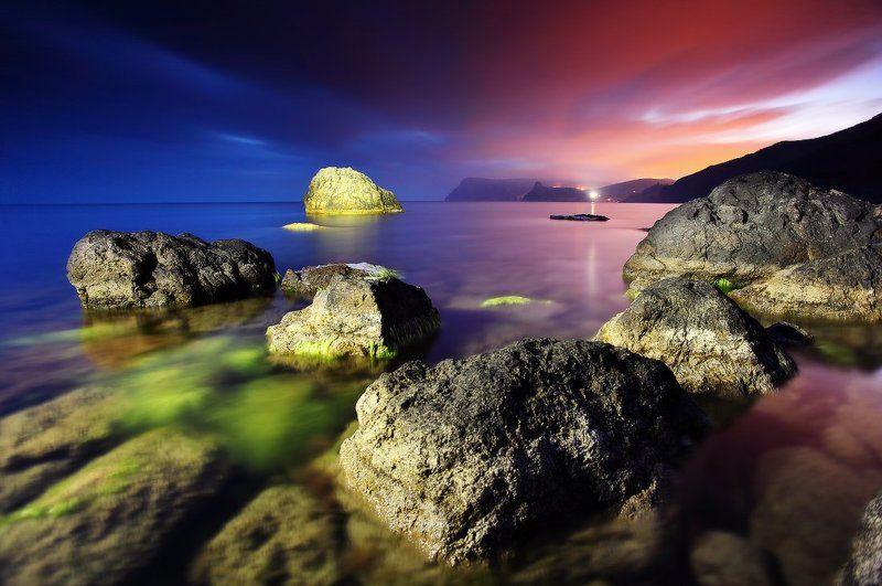 крым, море, черное, камни, вода, закат, свет украина Морские чудесаphoto preview