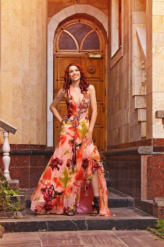 девушка, длинное, платье ...photo preview