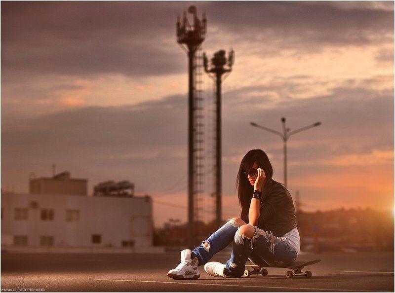 девушка, скейт, вечер, закат ***photo preview