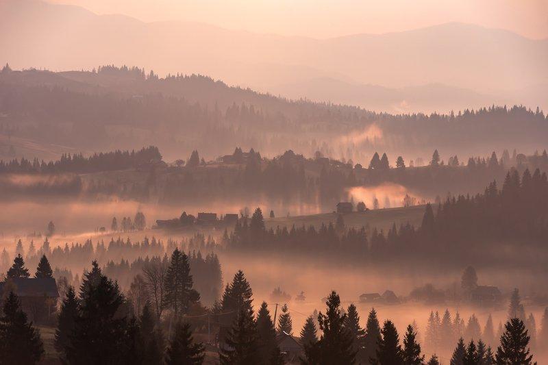 карпаты. осень. туман. рассвет Карпаты. Розовый рассветphoto preview