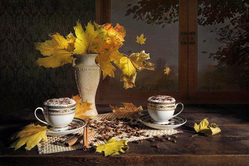 натюрморт,осень,капучино,листья,ваза,окно Осенний капучиноphoto preview