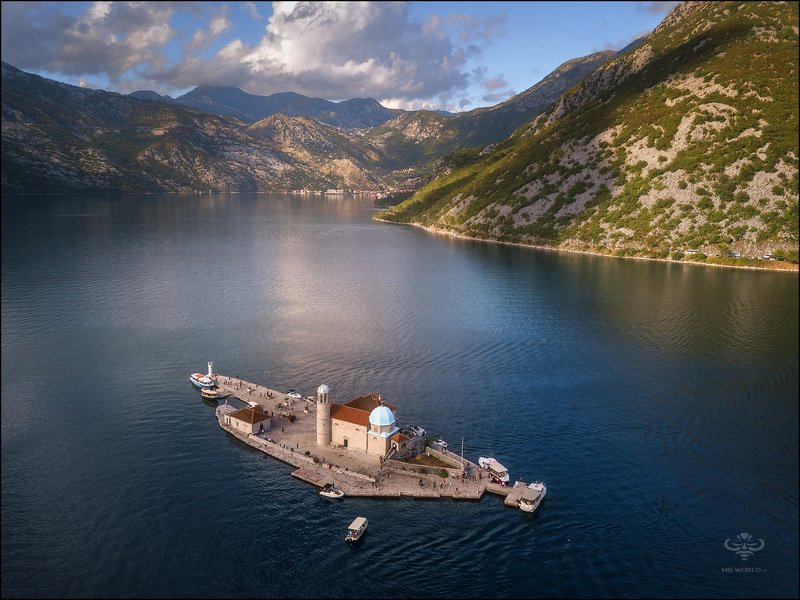 Черногория, дрон, пейзаж, бухта Боко-Которский заливphoto preview