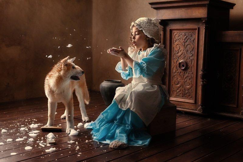 девочка, собака Банный деньphoto preview