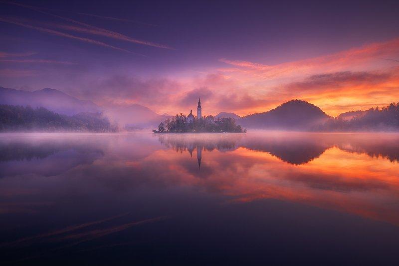 bled, slovenija, landscape, sunrise bled фото превью