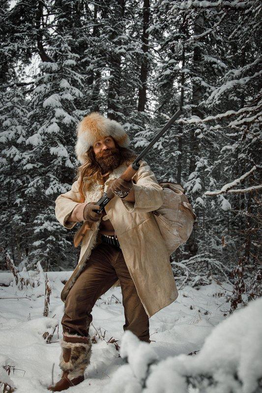 охотник, тайга, добыча, жанр, мужской портрет, зима, hunter, taiga, лес Таежникphoto preview