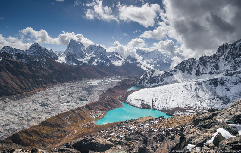 renjo, climbing, gokyo, landscape, lake, peak, summit, ngozumpa, everest, nepal, mountain, himalaya, himalayas, nature, extreme, mt. everest, lhotse, sagarmatha, nuptse, mountaneering , tourism, trekking, alpinism, altitude, hiking, hike, himalayan, khumb Gokyo village and lake from Gokyo Ri in Nepalphoto preview