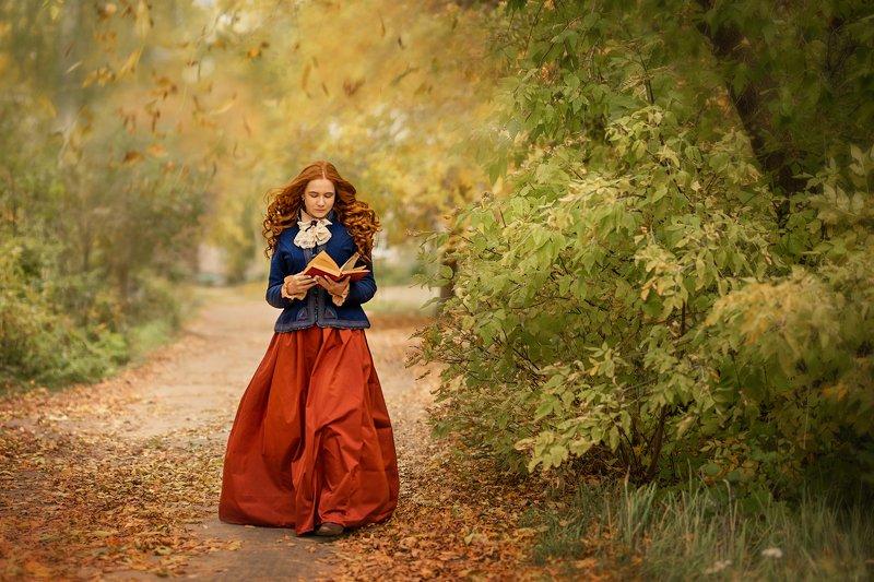 девушка, рыжая девушка, красивая, красавица, gerl, beauty, косплей, винтаж, ретро Мечтательницаphoto preview
