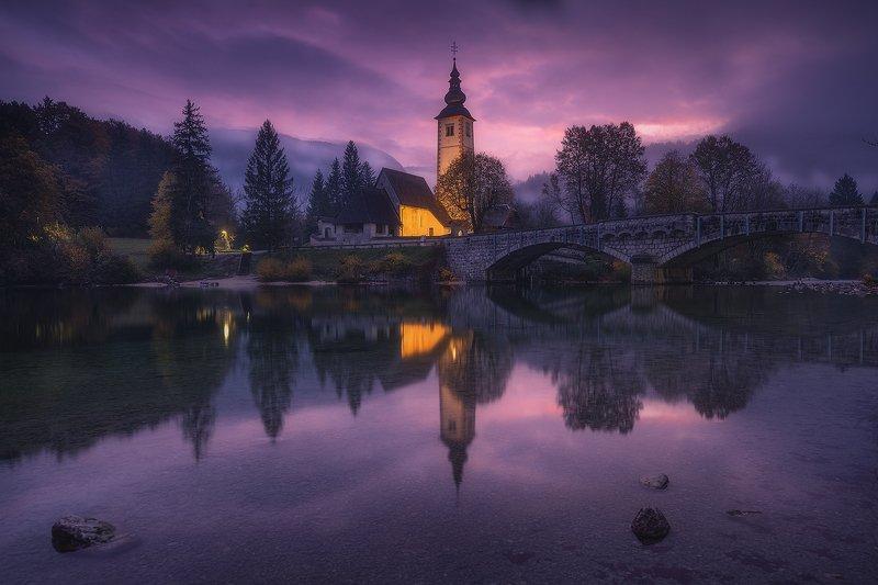 bohinj slovenija landscape sunrise clouds church reflection bohinj фото превью