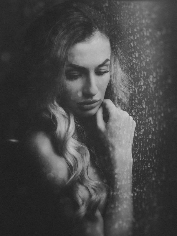 female, fine, art, portrait, black and white, rain, reflection, alone, drama, dramatic, loneliness, mood, beauty RAINphoto preview