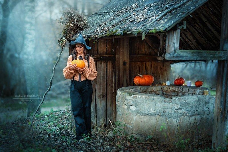 ведьма, хеллоуин,  девушка, тыквы, художественная фотография, helloween , ведьма, праздник Ведьмочкаphoto preview
