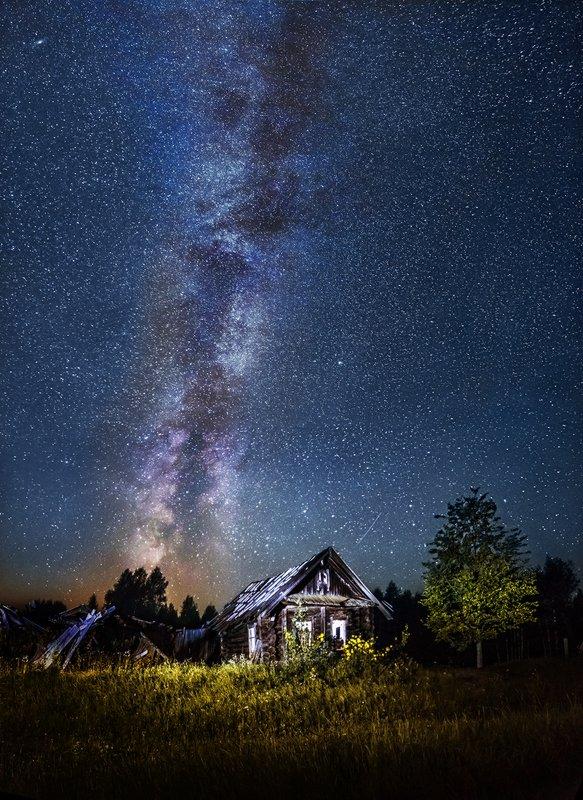 деревня, млечный путь, пейзаж ночь, ночь, старый дом Домик в деревнеphoto preview