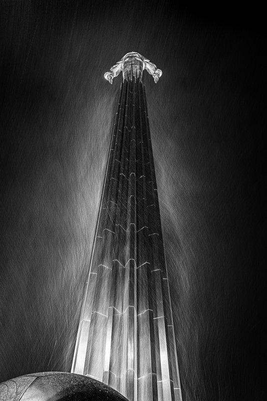 москва, город, памятник, гагарин, снег, ночь Москва. Памятник Юрию Гагарину.photo preview
