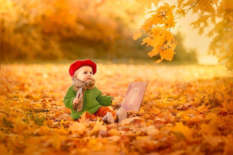 осень, краски, художник, оранжевый, малыш Палитра красокphoto preview