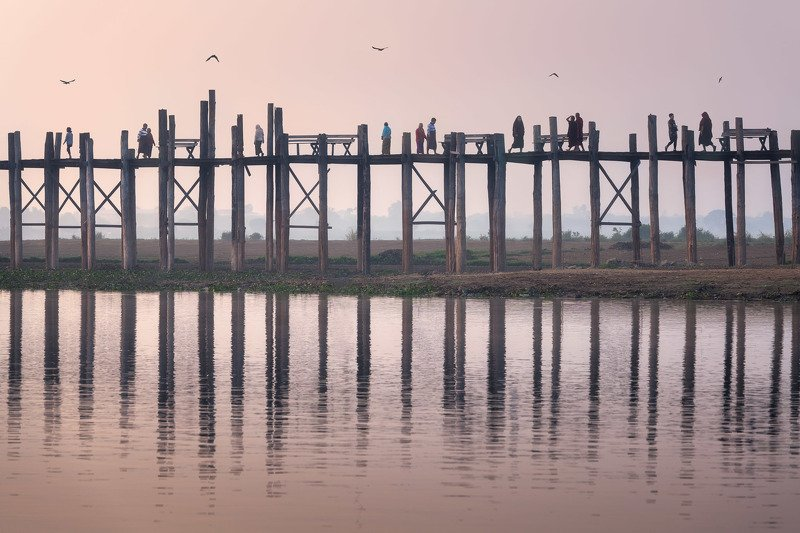 amarapura, ancient, architecture, asia, asian, beautiful, bein, birds, boat, bridge, burma, burmese, culture, dawn, footbridge, lake, landmark, landscape, mandalay, morning, myanmar, nature, peaceful, people, pink, reflection, river, rural, silhouette, sk Samsaraphoto preview