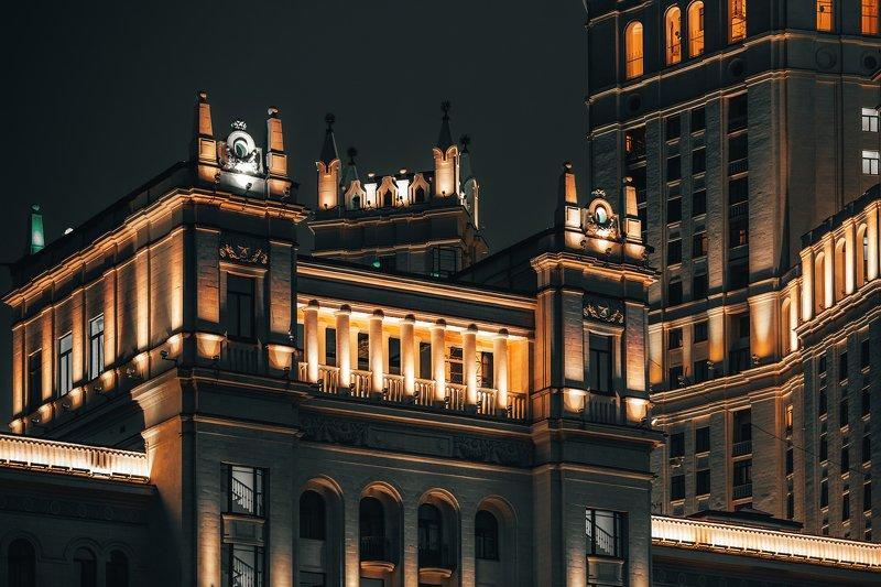 высотка, ампир, сталинка, архитектура, подсветка, ночь, high-rise, empire, stalinka, architecture, lighting, night, Сталинский ампирphoto preview