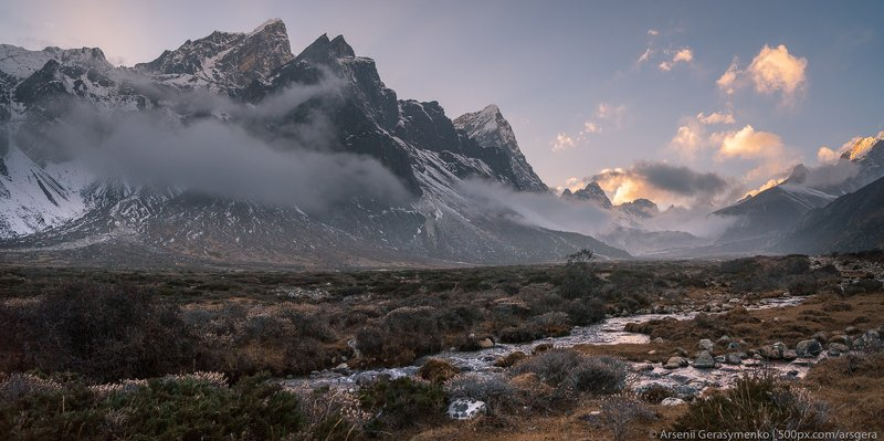 landscape, nature, travel, cloudy, outdoor, asia, climbing, top, mount, mountain, nepal,  cloud, peak, himalaya, alpinism, summit, himalayas, adventure, himalayan, cholatse, pheriche, valley, taboche, tourism, trekking, altitude, hiking, hike, khumbu, mou Pheriche Valley in Himalayas and Cholatse peakphoto preview