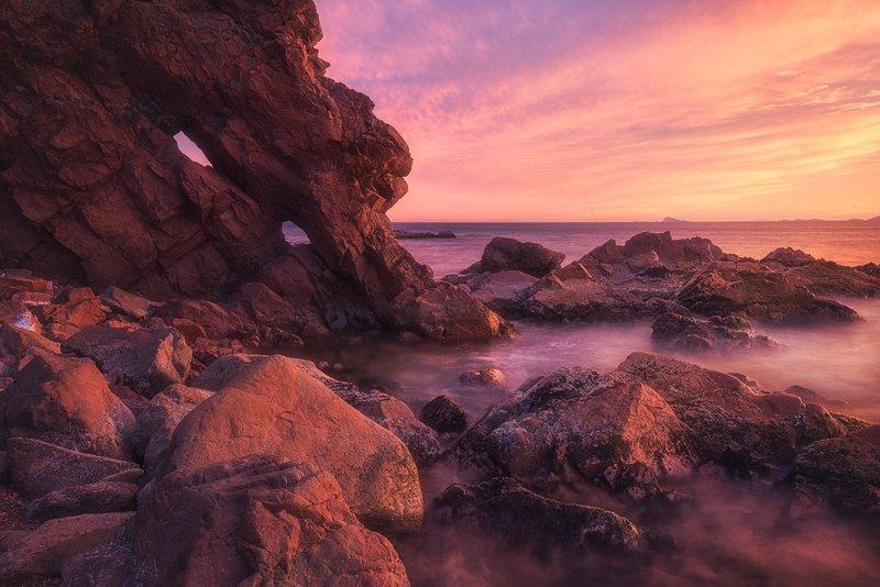 закат краски свет море остров шкота кекур камни волны пейзаж вечер морской пейзаж россия владивосток фото ,,Скалы о.Шкота,,photo preview