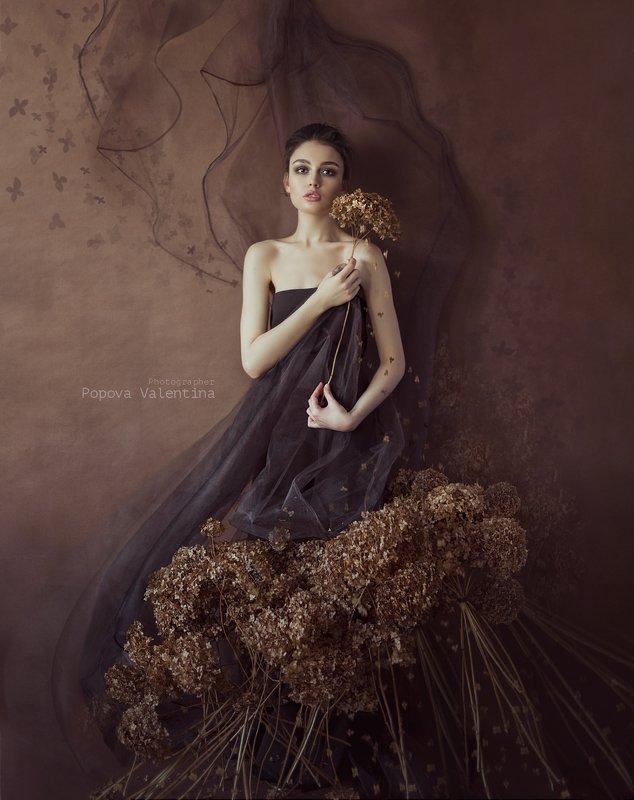 женский портрет, сухоцвет, портрет, арт Анастасияphoto preview