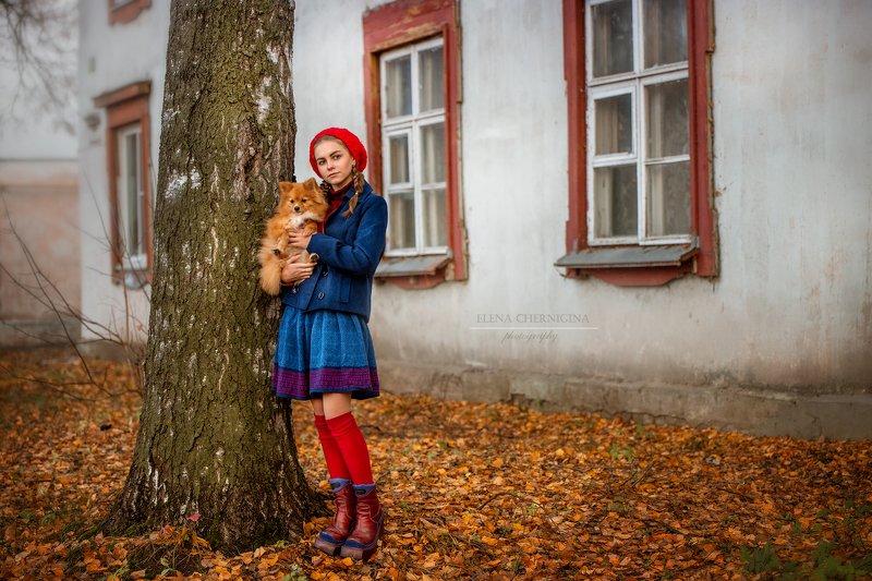 девушка, девочка с собакой, улица, город, фото девушки, городская съемка  photo preview