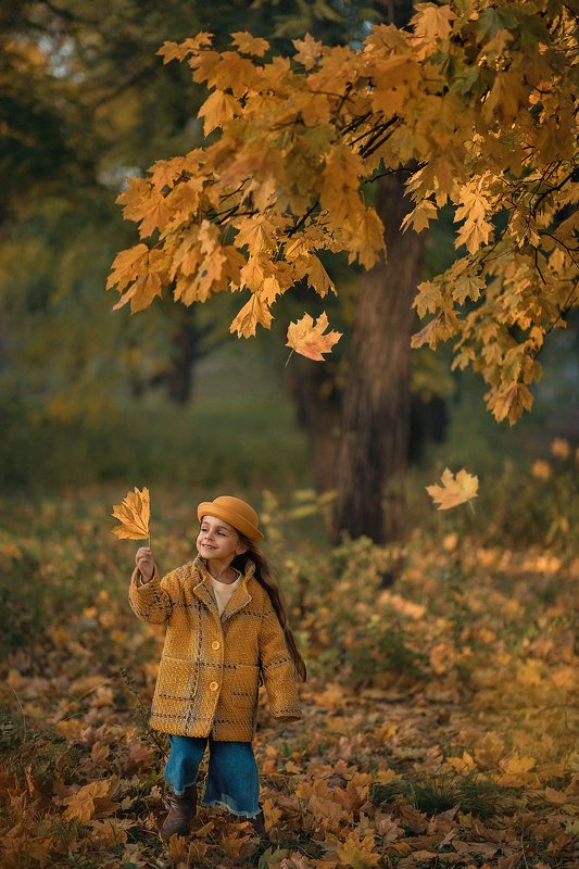 детская фотография, детский портрет, осень, детский фотограф, желтые листья Желтая осеньphoto preview