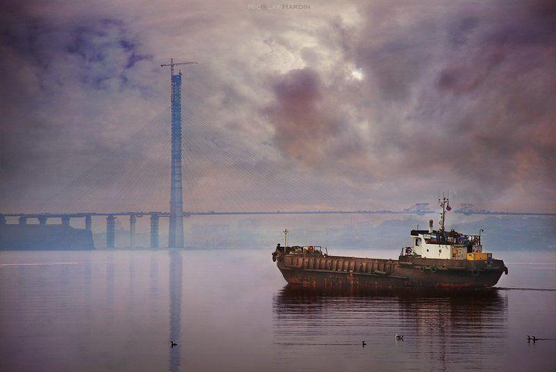 японское, море, корабли, мост Towardsphoto preview