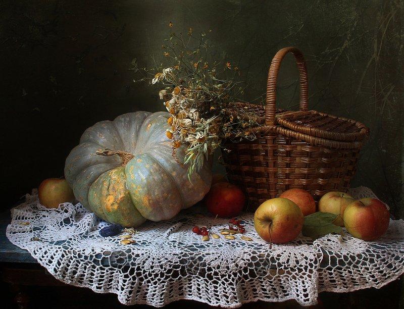 осень, тыква, яблоки, натюрморт, марина филатова Натюрморт с тыквой и яблокамиphoto preview