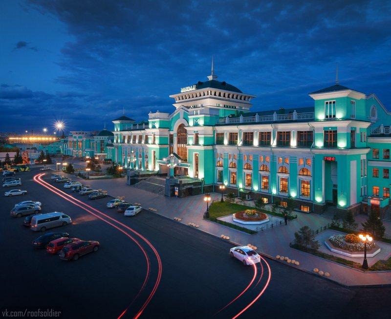 Омск, Россия, вокзал, город, пейзаж, ночь, выдержка, крыша, архитектура ЖД Вокзал Омскphoto preview
