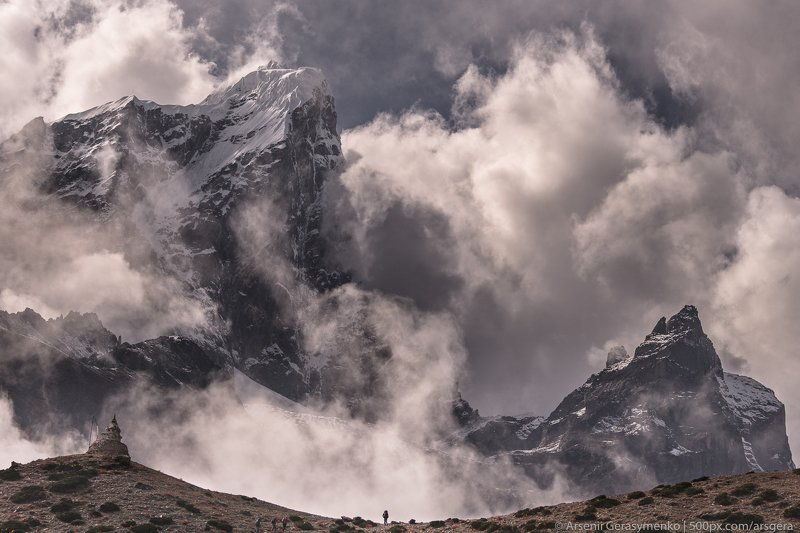 silhouette, man, landscape, nature, travel, cloudy, outdoor, asia, climbing, top, mount, mountain, nepal,  cloud, peak, himalaya, alpinism, summit, himalayas, adventure, himalayan, cholatse, pheriche, valley, taboche, tourism, trekking, altitude, hiking,  Cloudy Himalayas. Cholatse peak and silhouette of manphoto preview