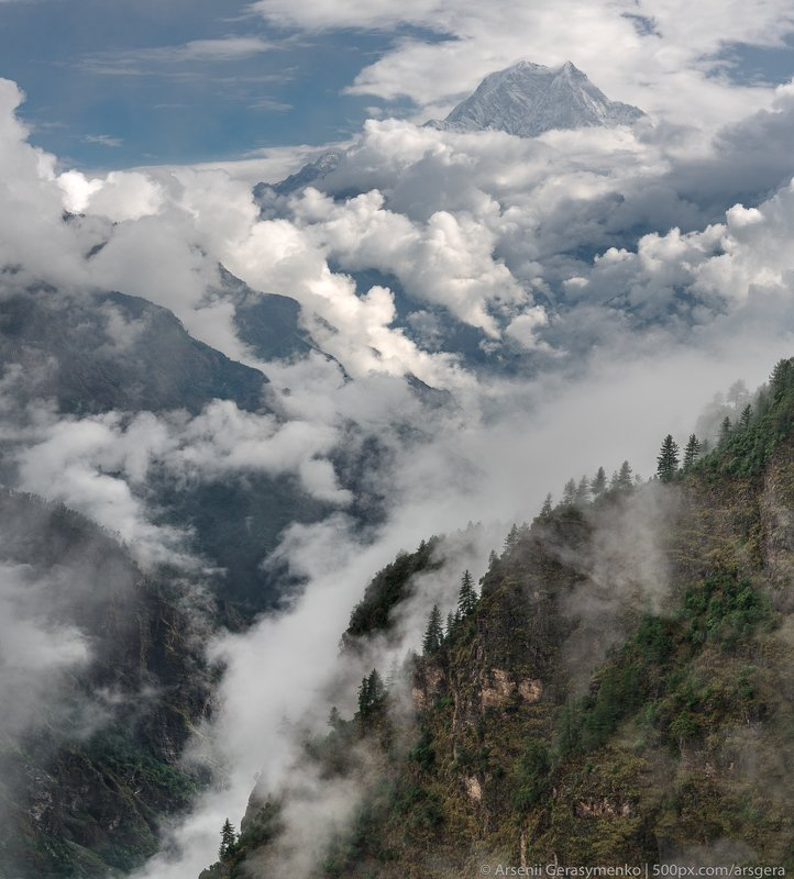 sky, landscape, nature, travel, rock, rain, tourism, wood, mountain, valley, cloud, hill, panoramic, outdoors, daylight, rainforest, summit, environment, trek, trekking, scenic, monsoon, mountain, peak, himalayan, nepal, himalayas, annapurna, nilgiri, bas Nilgiri Summit. Monsoon time in Nepal. Captured near Tikot village. Mohare Danda trekphoto preview