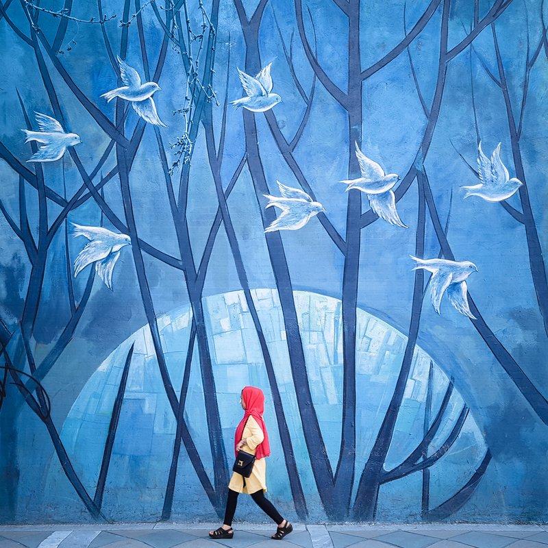 street, human, blue, conceptual, art, fine art Red Shallphoto preview