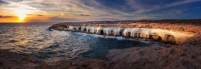закат, кипр, горы, море, sunset, cyprus, landscape Пещеры Cape Grekophoto preview