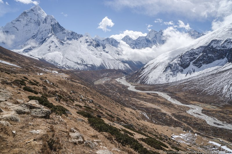 sky, landscape, nature, travel, outdoor, snow, asia, climbing, top, mount, mountain, nepal, cloud, peak, high, himalaya, alpinism, altitude, hiking, summit, himalayas, trekking, adventure, hike, himalayan, khumbu, mountainside, ama, amadablam, dablam, phe Ama Dablam Summit and Pheriche Valley in Khumbu region Nepal, Everest base camp trekphoto preview