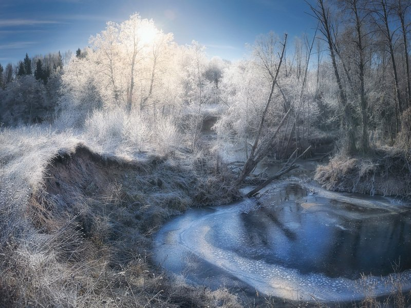 река, берег, иней, куржак, ноябрь Серебро ноябряphoto preview