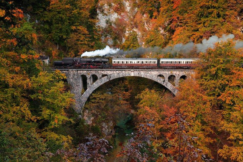 autumn, train, trees, bridge, gorge, colors, trip, slovenia, morning, Autumn 1945photo preview