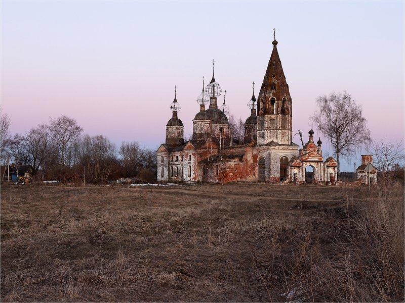 храм, церковь, заброшенный храм, вечер, архитектура, Сразу после заката.photo preview