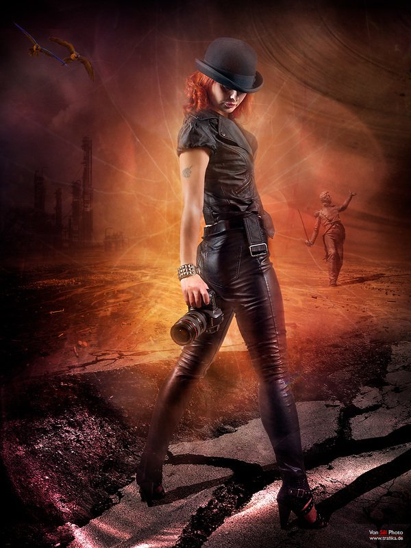 girl, camera, hat, leather clothing, desert, soldier, ruins, red hair Duelphoto preview