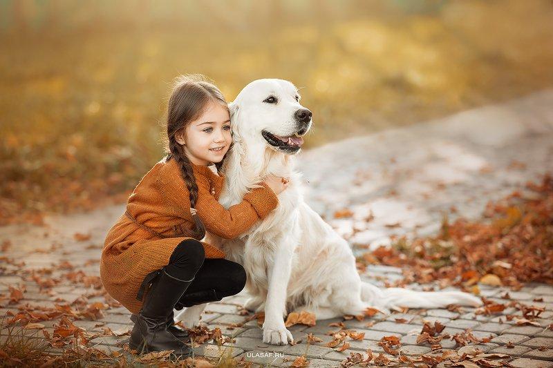 art photo, glamour, портрет, осень, autumn, ребенок, девочка, girl, животное, собака, dog, радость, малыш, друзья, happy, любовь, love, nikon, 105mm, kid, children, beautiful, ретривер, golden retriver, labrador ***photo preview