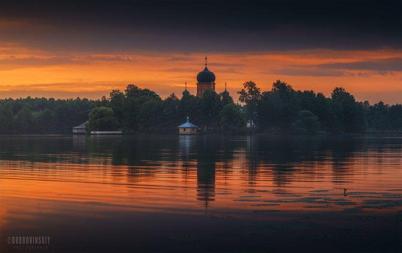 введенское, владимирская область, монастырь, закат, отражения Введенскоеphoto preview