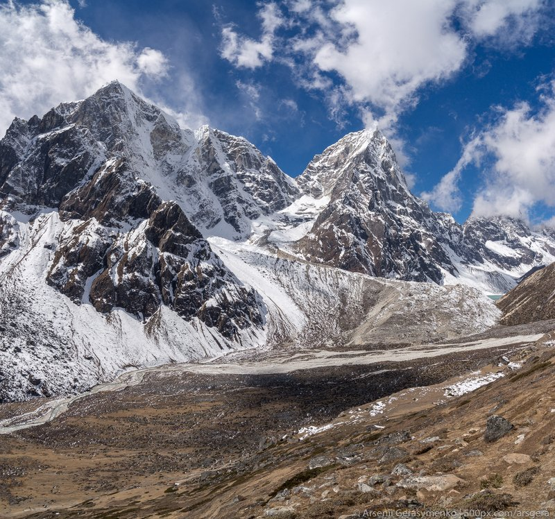 landscape, nature, travel, cloudy, outdoor, asia, climbing, top, mount, mountain, nepal,  cloud, peak, himalaya, alpinism, summit, himalayas, adventure, himalayan, cholatse, pheriche, valley, taboche, tourism, trekking, altitude, hiking, hike, khumbu, mou Pheriche Valley in Himalayas. Cholatse summit in khumbu region Nepal, everest base camp trekphoto preview