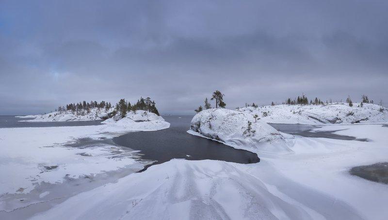 зимняя Ладога, шхеры зимой, Карелия, Ладожское озеро, зимние острова \