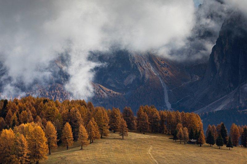 mountains, dolomites, italy, sunrise, landscape, nature, travel, autumn, peak, clouds Gorgeous Autumnphoto preview
