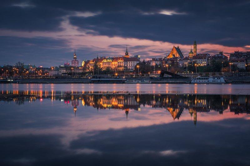warsaw, city, architecture, vistula, river, reflection, night, Warsawphoto preview