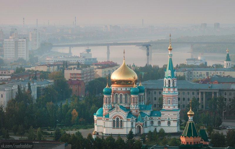 Омск, Россия, город, пейзаж, храм, церковь, Сибирь, рассвет, архитектура Омск просыпаетсяphoto preview