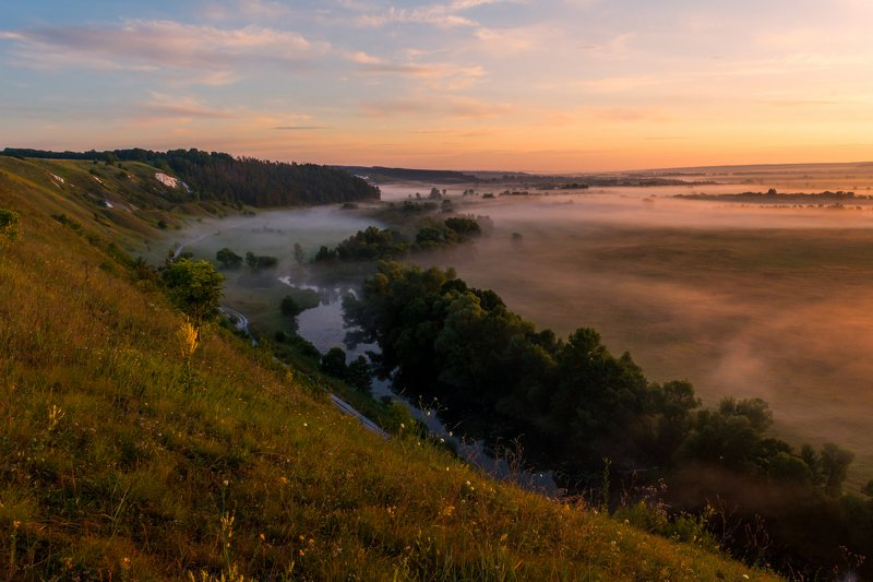 крапивенское городище, река корень, рассвет Крапивенское городищеphoto preview