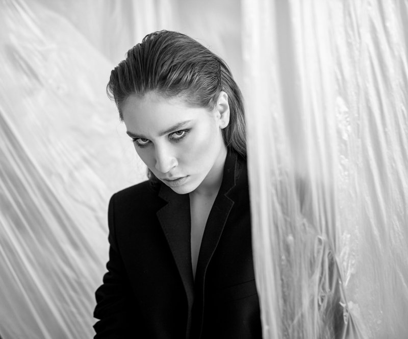 fashion, style, model, posing, beautiful, black, white, look, eyes, beautiful, jacket, film, art, unusual,modeling, bw, shoot Filmphoto preview